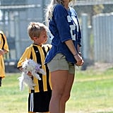 Britney Spears was all smiles while at her sons Sean Preston and Jayden James's soccer game in LA.