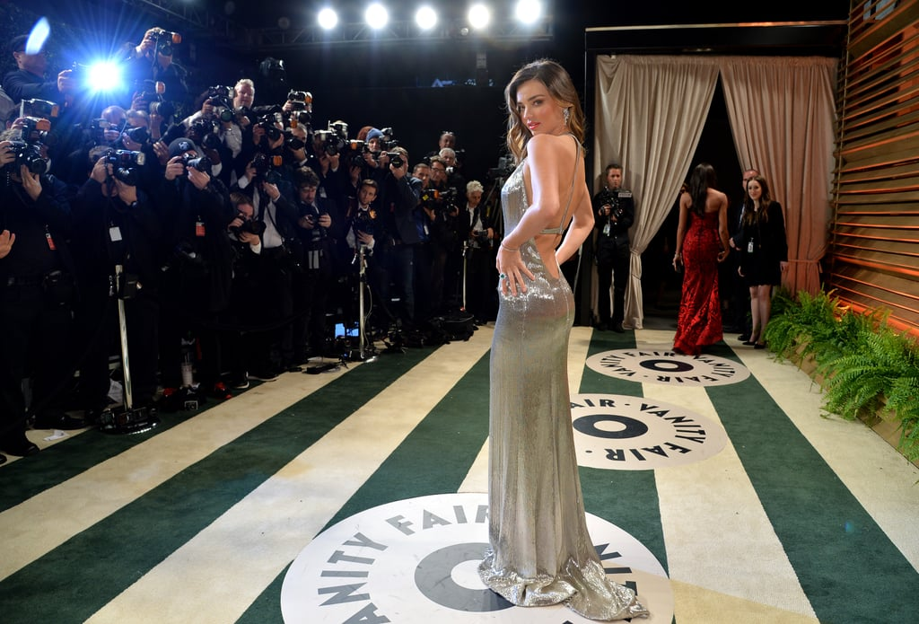 Miranda Kerr posed for photographers on the red carpet.