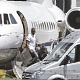 Kanye West landed in Florence on his own jet.