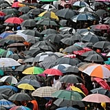 South Africans were ready for the rain during Mandela's memorial.