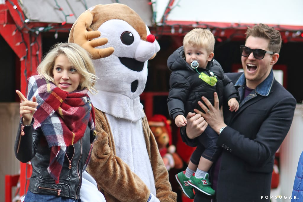 """Michael Bublé had an adorable Christmas outing with his son, Noah, and his wife, Luisana Lopilato, in Canada on Monday. The group went to the Christmas Theme Park in Vancouver's famous Stanley Park, where they greeted Frosty the Snowman and Rudolph the Red-Nosed Reindeer with smiles and high fives. Since the singer already gave us a huge dose of the holiday season with his and Idina Menzel's cover of """"Baby, It's Cold Outside,"""" it's nice to see him getting some back. There's been no shortage of cute family moments for Michael this year, from the video he posted where he sang NSYNC to his son to their adorable outing on Father's Day. Keep reading to see the latest exclusive pics!"""