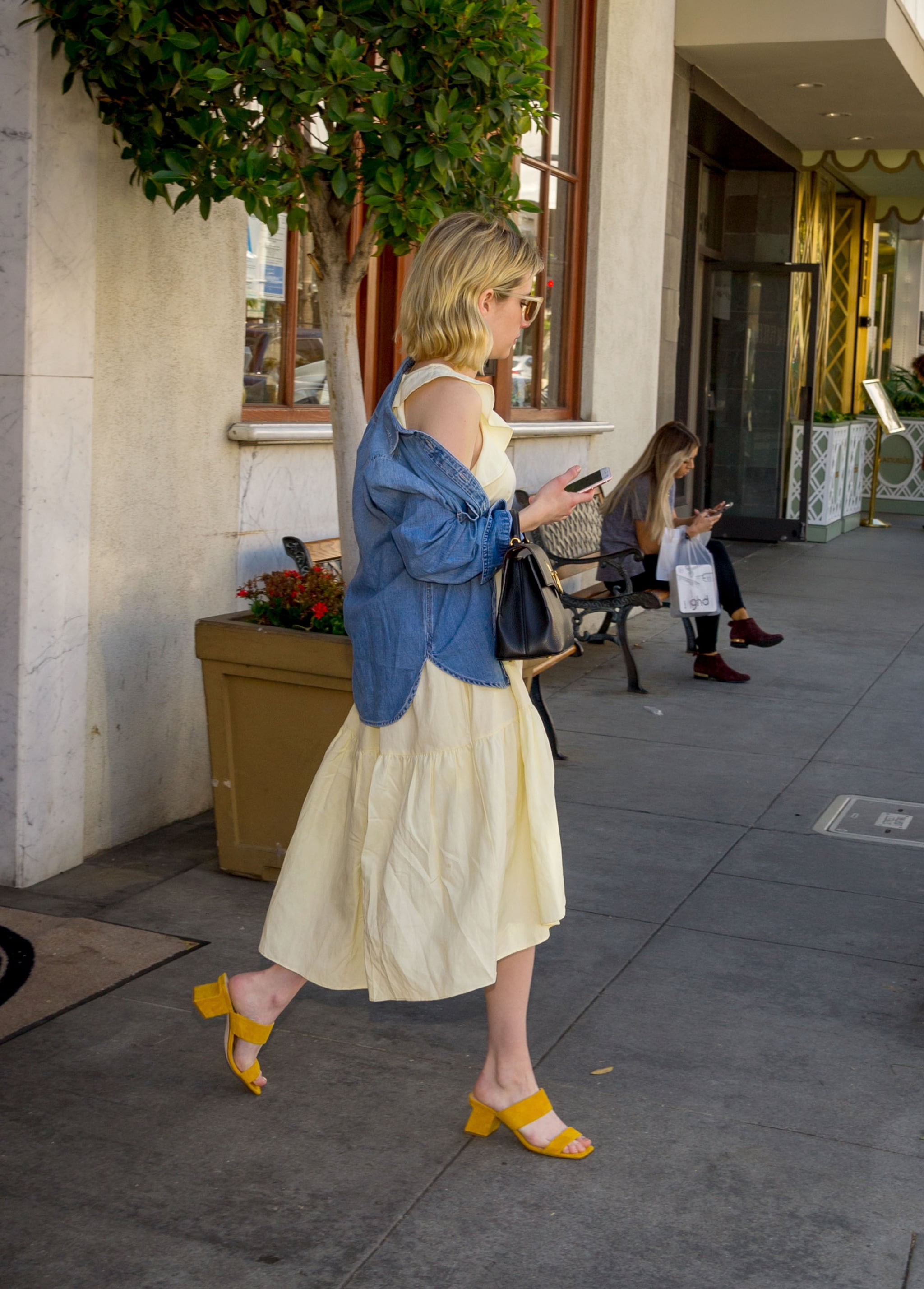 Emma Roberts Wearing Nine West Yellow Sandals Popsugar Fashion