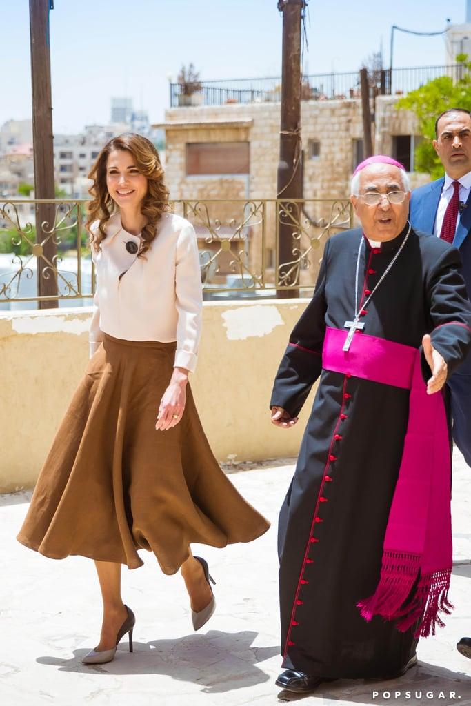 Queen Rania Brown Midi Skirt June 2016