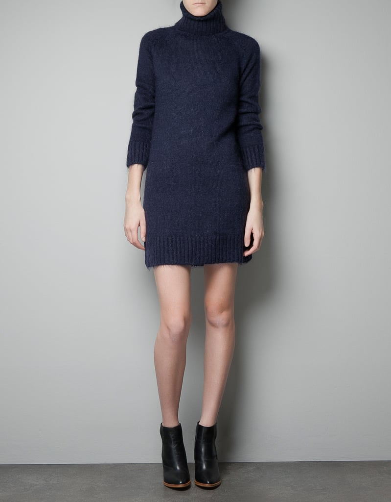 Don't count out Zara's Mohair Polo Neck Sweater Dress ($50) from your holiday sweater dress rotation. If you wear some fun sparkly earrings (like a great gem-encrusted chandelier iteration) and then add a metallic heel, it's a classic take on festive fare.
