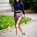 Belt a knee-length pencil skirt to keep things polished, but also add dimension.