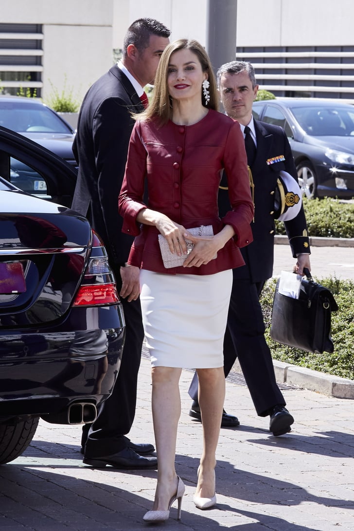 U Pull U Save >> Queen Letizia's Red Leather Top | Queen Letizia Burgundy ...