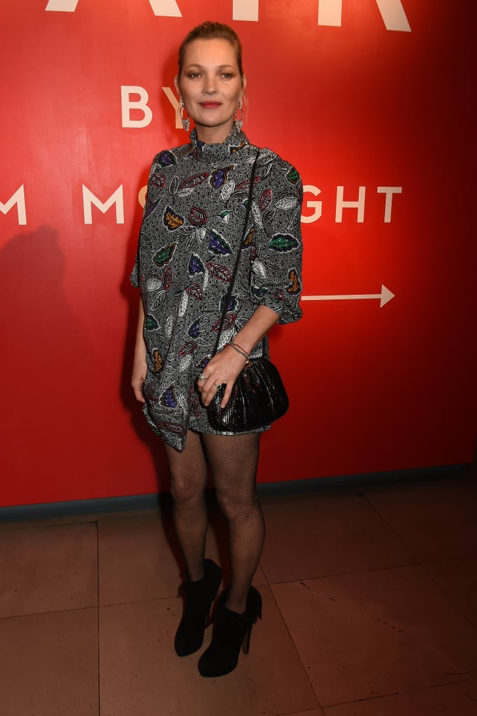 Kate Moss Attended the Hair by Sam McKnight Event Wearing a Minidress With Fishnet Tights