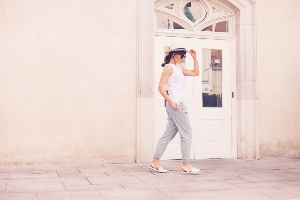 Striped slouchy but still lightweight trousers paired with a simple cotton broderie anglaise blouse – this is easy, comfortable and ideal over a bikini. Wicker hats & simple leather sandals are an obvious Riviera choice – simply because they are made for the sun and the sun.