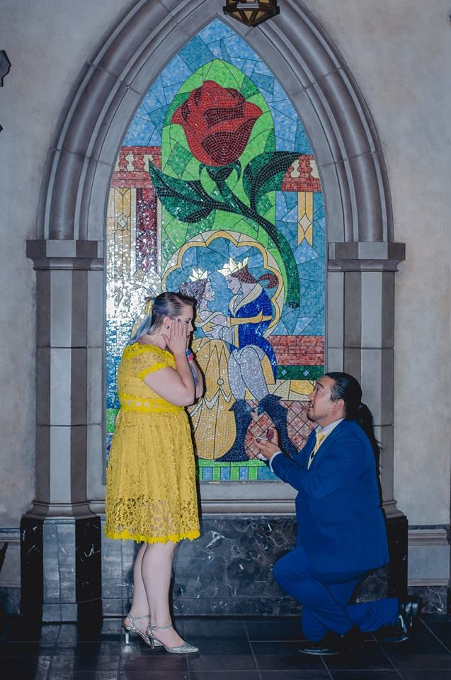 "Disney fans, this Beauty and the Beast-inspired proposal story is going to steal your heart. The couple, Angel and Andrea, first met four years ago, and as Angel told POPSUGAR, ""From the start, it was basically a fairy tale."" They share a love for Disney and cosplay, and for their first Valentine's Day together, Angel made Andrea an enchanted rose that lights up and plays music. Fast forward to their magical Disney proposal, which, as Angel explained, ""was a no-brainer.""  Andrea had never been to Disney World, so Angel plotted out all the details for about a year and a half, including the custom ring he made for her. He enlisted the help of their best friends, another couple, who told Andrea they wanted to renew their vows at Disney World. Andrea was ""ecstatic"" to have a reason to go, and they introduced her to Disneybounding — an excuse for her and Angel to dress up as Belle and the Beast.  Fast forward to the big moment at the Be Our Guest Restaurant, where Angel managed to ""shock"" his other half. As Angel told POPSUGAR, here's what he said when he proposed: ""I've loved you since the moment I saw you. I've spent a thousand lifetimes searching for someone like you. Andrea, will you let me love you until the last petal falls and beyond?"" Of the special moment, he joked, ""I know that sounds super cheesy, but given where we were and how cheesy I tend to be, it seemed fitting at the time."" Too sweet! Check out more pictures and a video clip of the moment.      Related:                                                                                                           This Couple Rented Out Toy Story Mania For Their Disneyland Wedding, So We Can Stop Trying Now"