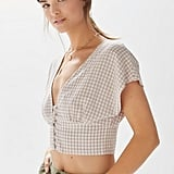 Urban Outfitters Anderson Gingham Button-Front Cropped Top
