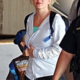 Britney Spears arrived in Maui wearing a white sweatshirt.
