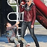 Gwen Stefani and Kingston Rossdale shared some laughs.