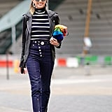 A lot of new denim trousers feature details such as front-slit ankle zippers or shiny, shimmering hardware that packs a punch and gives off fancy vibes.