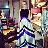 We stepped inside Christian Siriano's home to preview his Resort collection. What do you think of this chevron-striped skirt?