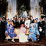 With the new second in line to the throne; Prince William's christening in 1982.