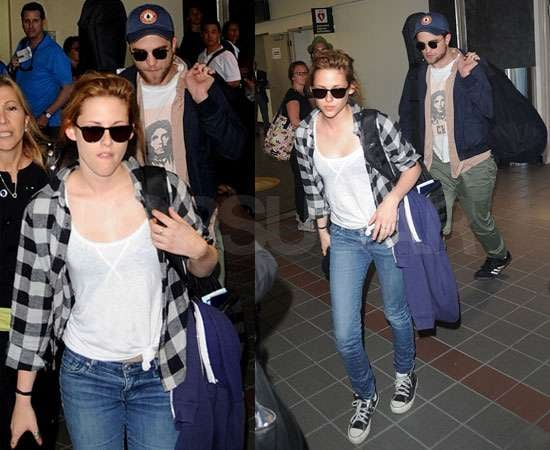 Pictures of Robert Pattinson and Kristen Stewart Together at LAX After Kissing PDA in Montreal Canada