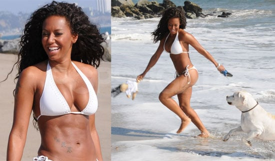 Photos of Bikini-Clad Melanie Brown Playing With Her Dog on Santa Monica Beach