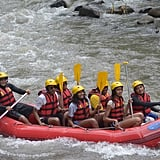 Here he is white water rafting in Bali with his family.