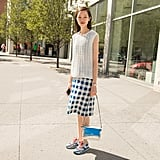 A Long Tank, a Gingham Skirt, and Trainers