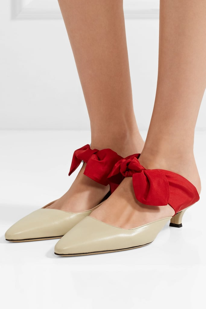 520c6a335ddb The Row Coco Leather and Satin Mules