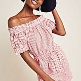 Checked Off-the-Shoulder Romper