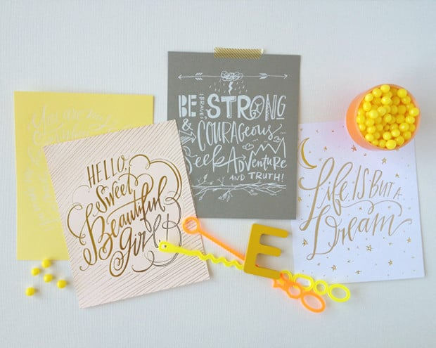 Another look at Lindsey Letters' creations, including the Life Is But a Dream print ($20).