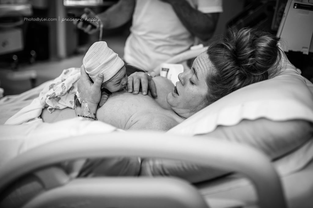 Photos of a Newborn Doing the Breast Crawl