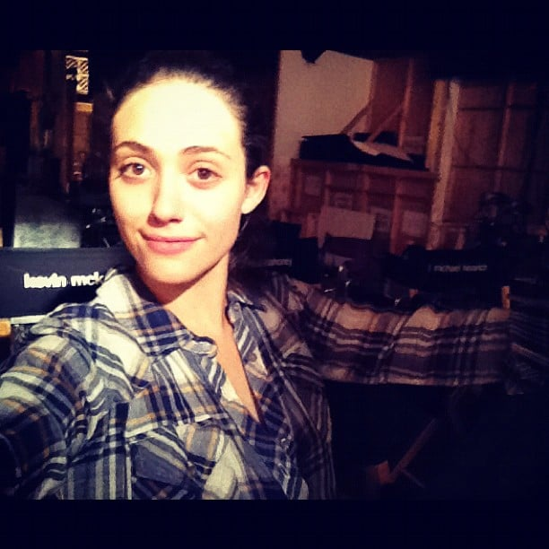 Emmy Rossum shared a snap from the set of Shameless. Source: Instagram user emmyrossum
