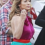 Jennifer Lopez looked ready for Spring in a colorful dress on the set of American idol.