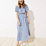 LOFT Beach Mixed Stripe Off The Shoulder Dress