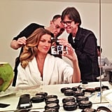 Gisele Bündchen snapped a selfie while sitting in the hair-and-makeup chair. Source: Instagram user giseleofficial