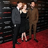 Dane DeHaan, Jessica Chastain, and Shia LaBeouf posed together at the screening of Lawless in NYC.