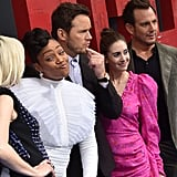 Pictured: Elizabeth Banks, Tiffany Haddish, Chris Pratt, Alison Brie and Will Arnett
