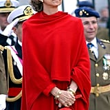 Queen Sofía in an All-Red Look, 2003