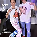 The pair appropriately ended the night in comfy clothing — they wore silly T-shirts with each other's faces on them, in addition to Fear of God Nikes on Megan and Off-White Nikes on Sue.