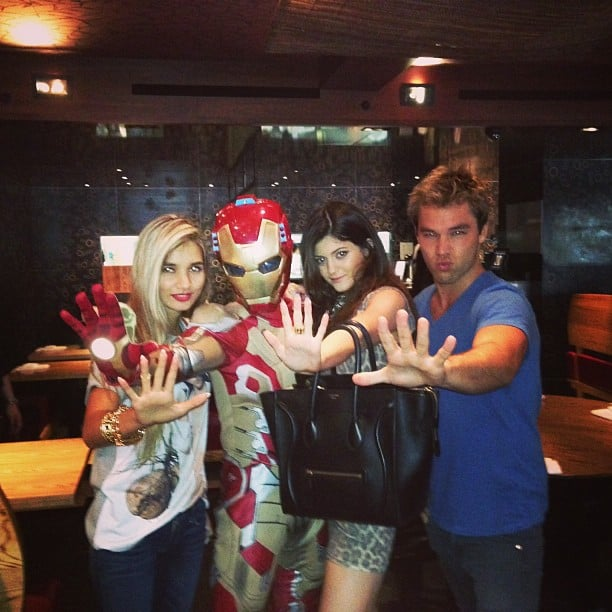 Lincoln Lewis did the Iron Man pose with Jaden Smith (in the suit), Kylie Jenner and a friend. Source: Instagram user linc_lewis