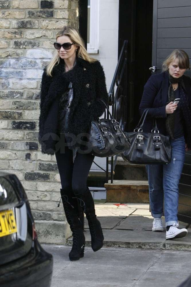 Kate Moss met up with a friend in London.
