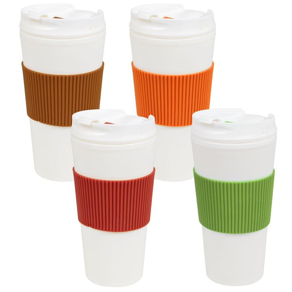 Travel Mugs With Colorful Sleeves ($1 each)
