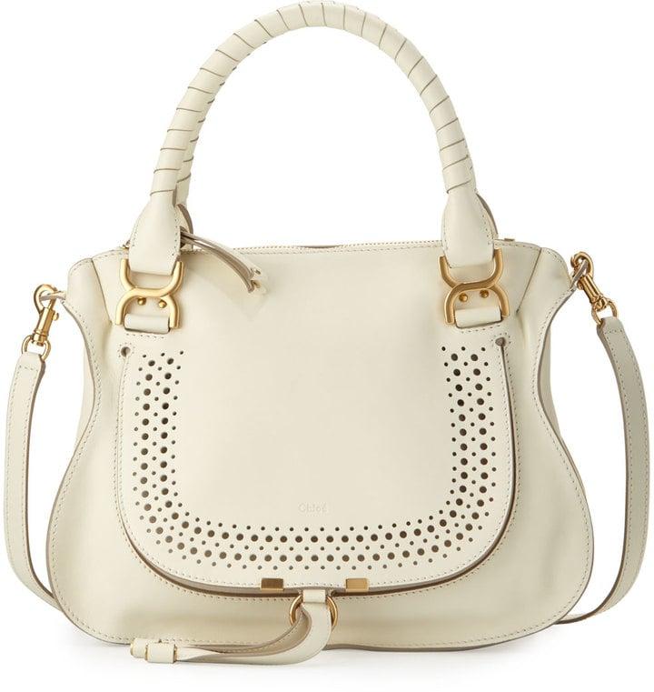 Chloé Marcie Medium Perforated Satchel Bag, White ($2,250)