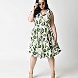 Unique Vintage Plus Size 1950s Style White & Green Cactus Print Sleeveless Swing Dress ($82)