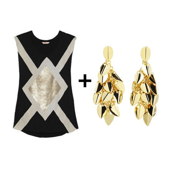 Dance the night away in a casual yet slick way with a metallic-print tank top and oversize gold stud earrings for a cool take on rocker chic. Shop the look:  Sass & Bide The Big Go sequin-embellished cotton-jersey tank ($180) Vince Camuto social spheres chandelier earring  ($48)