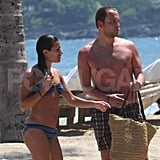 Lea Michele and Theo Stockman cooled off on the beach in Hawaii.