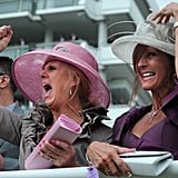 Two women cheered on at the Epsom Derby.