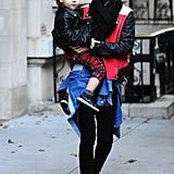Miranda Kerr and Flynn Bloom wore matching leather jackets in NYC on Saturday.