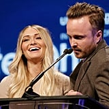 Aaron Paul amused wife Lauren Parsekian when the pair took the mic at unite4:humanity's event.