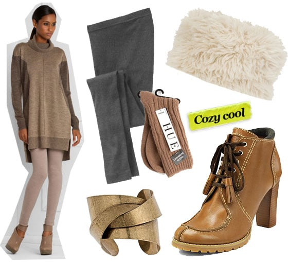 BCBG Max Azria Turtleneck Sweater Dress ($348), Old Navy Thick Ribbed Leggings ($13), Hue Cashmere Socks ($12), See by Chloé Faux-fur cossack hat ($47, originally $105), Blu Bijoux Gold Art Deco Cuff ($42), See by Chloe Lace-Up Ankle Boots ($325)