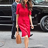 Amal Clooney Wearing Red Dolce & Gabbana Dress