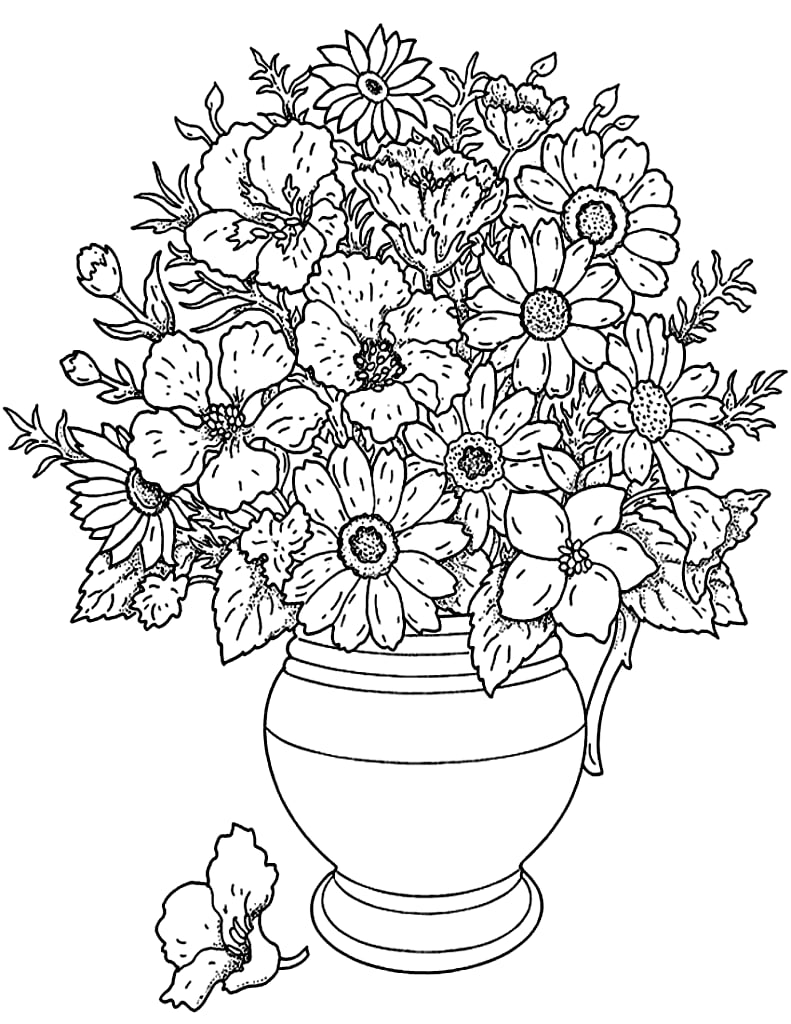 Get the colouring page: Flower bouquet | Free Colouring Pages For ...