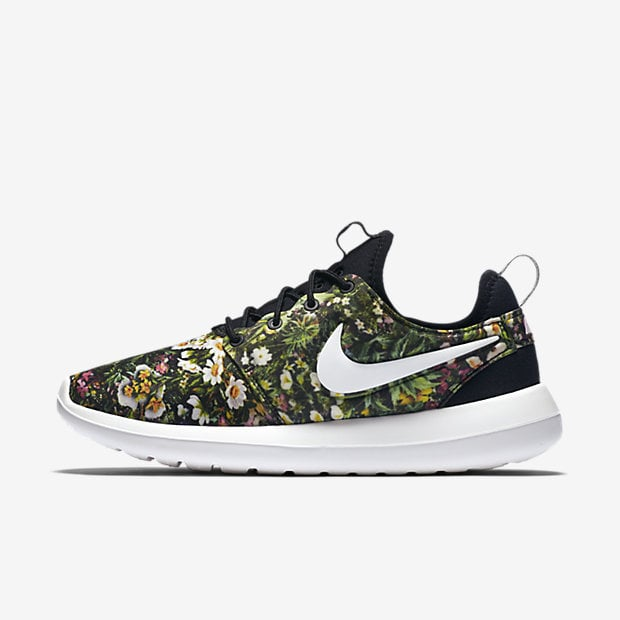 coral nike roshe with floral print