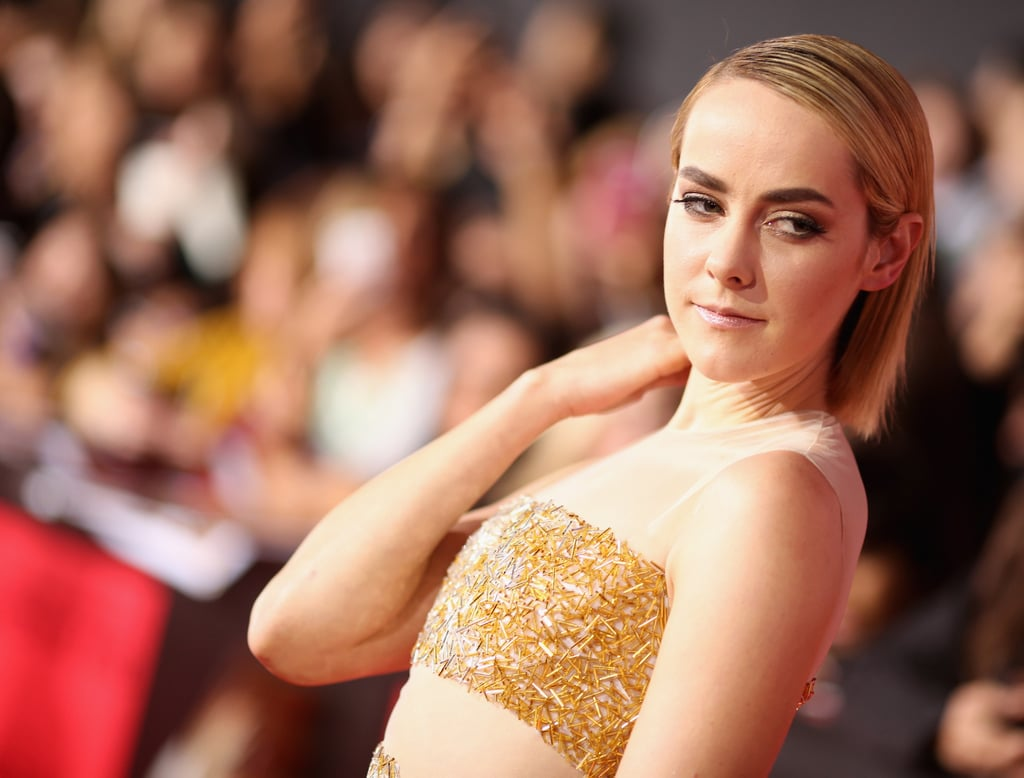 Jena Malone, who portrays Johanna Mason in the movie, wore a sheer gown.